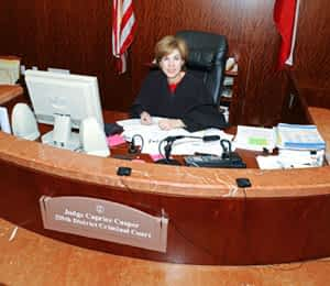 Judge Caprice Cosper at her desk