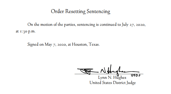 hughes resetting sentencing date to july 2020